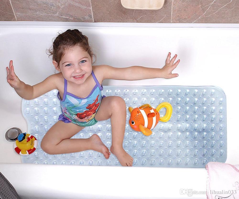 Wholesale Large 40*100cm PVC Non-slip Bathtub Bath Mats with Suction Cups Bathroom Accessories