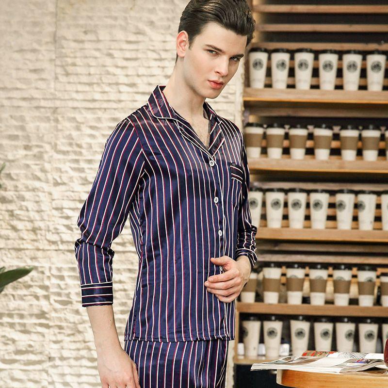 77bce58ef3 2019 PS0239 High Quality Satin Silk Pajamas Striped Soft Men Pyjamas Full  Sleeve Long Pants Two Pieces Sets Sleepwear Men Pajama Sets From Bunnier