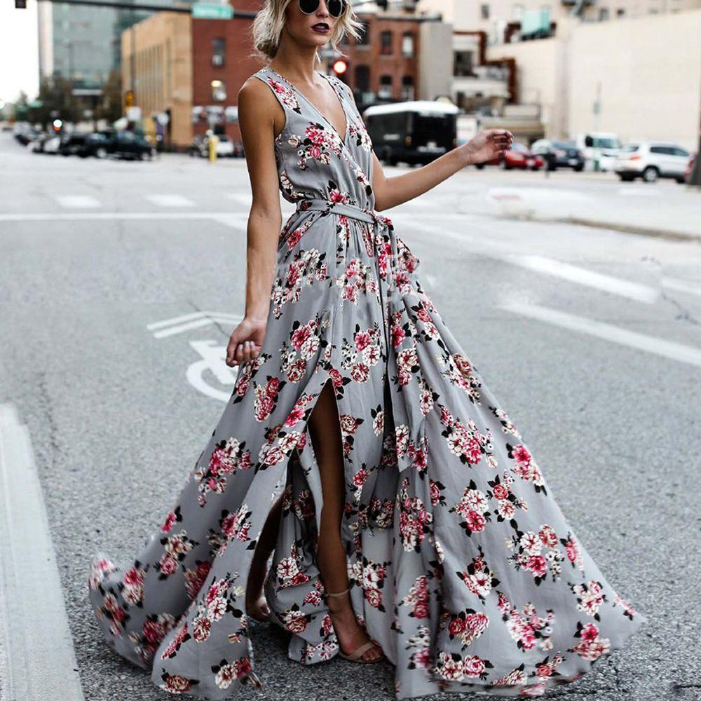 927da4daf69 Maxi Dress Big Swing Deep V Neck Floral Print Sexy Split Waist Tie Summer  Party Club Engagement Dinner Fashion Lady Dresses For Women Formal Gown  Prom Dress ...