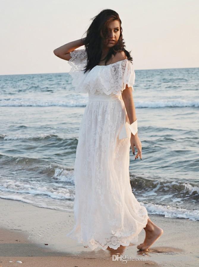 Modern Dantel Boho Yaz Gelinlik Yaz Plaj Bahçe Düğünleri Için Bir Çizgi Kapalı Omuzlar Backless Gelinlikler Annelik