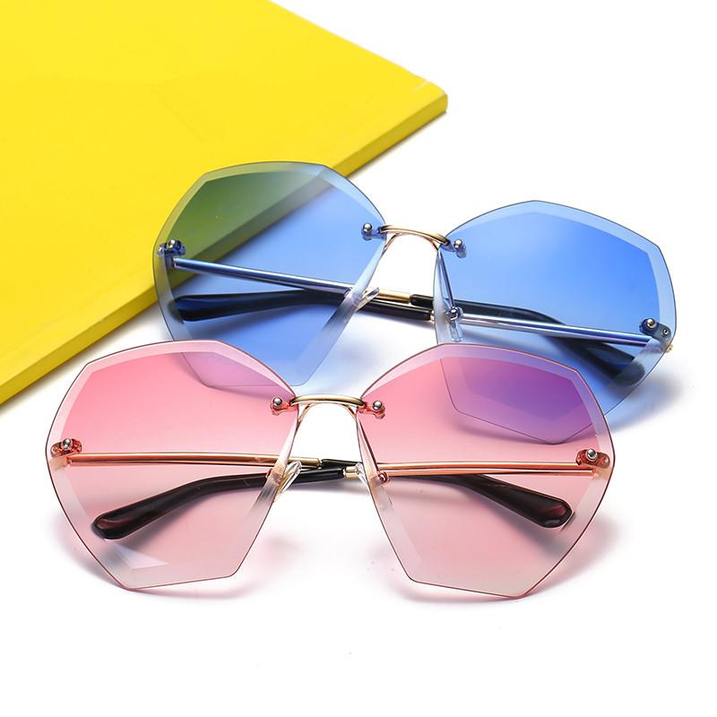 06d4b0278079 Rimless Sunglasses Women Brand Designer 2018 Yellow Square ...