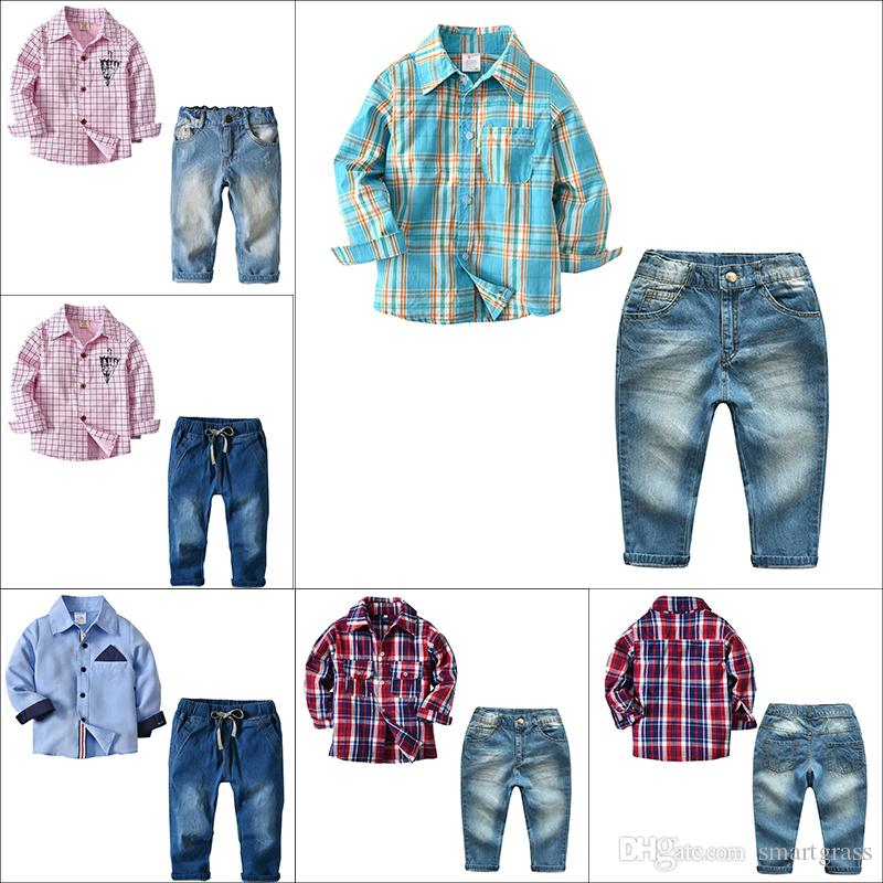 48caa4028a62c 2019 Baby Boy Clothes Sets Long Sleeve Designer Baby Clothes Plaid Shirts  And Denim Long Pants Spring Kids Clothes Sets 18013003 From Smartgrass
