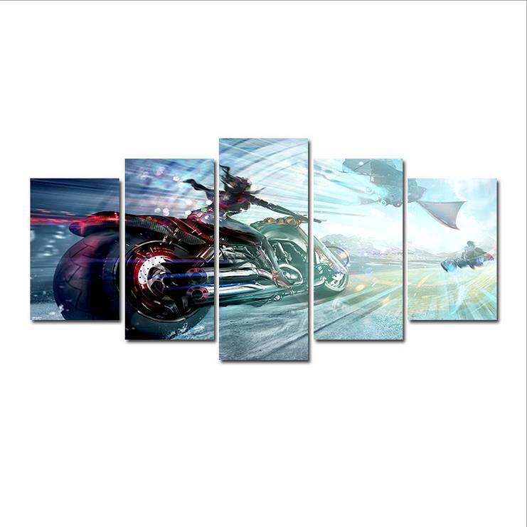 Satın Al 5 Panel Yarış Motor Gücü Elmas Soyut Yağ Sanat Diy Oya