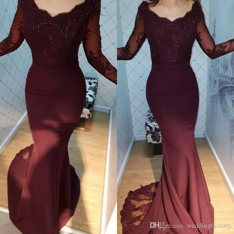 0080ac2e5112 Elegant Mermaid Evening Dresses Scoop Neck Illusion Long Sleeves Beaded Lace  Appliques Burgundy Prom Party Gowns With Sheer Train Semi Formal Dresses  Ball ...