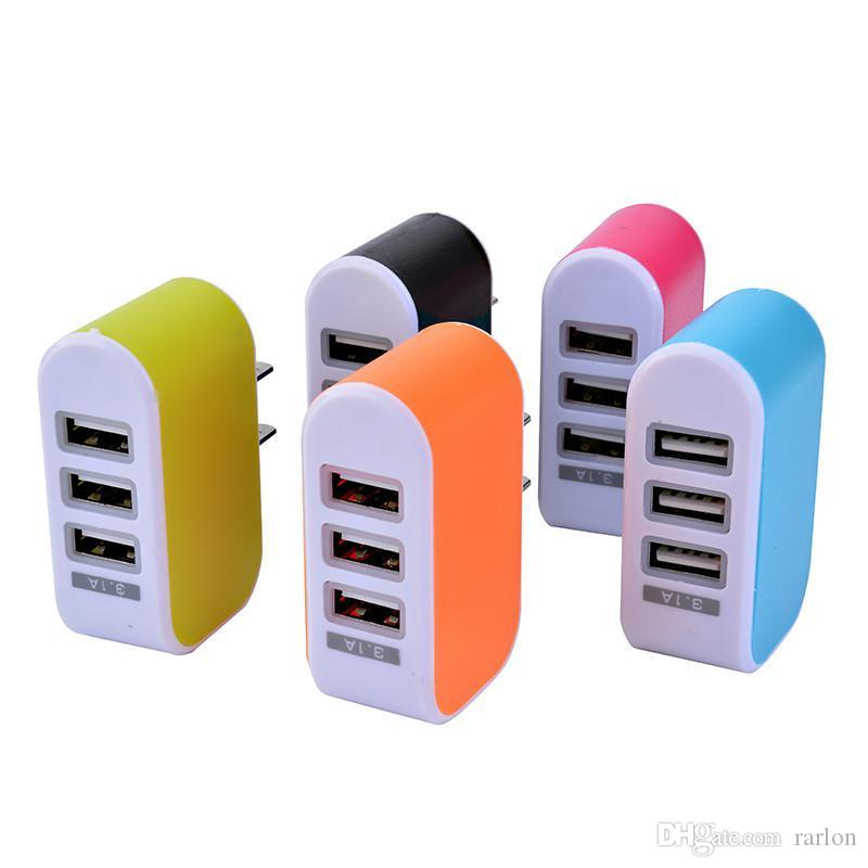 Caricatore da muro USB Ports 3 USB Caricatore da muro 5 V 3.1A LED Caricabatteria da viaggio Caricabatterie EU Galaxy S8 Note8
