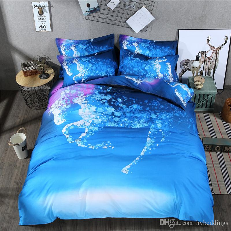 3d Fantastic Horse Bedding Sets Blue Dream Duvet Cover Set Pillowcases Multi Size 2/3/4 pcs Twin Queen King Size