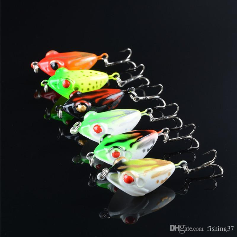 6-color 4.2cm 6.5g Frog Plastic Hard Baits & Lures Fishing Hooks 6# Hook Artificial Bait Pesca Fishing Tackle Accessories