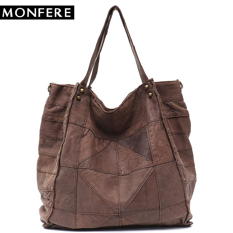 Leather Women Big Cuero Real Compre Tote Bags Vintage Monfere zvqEt