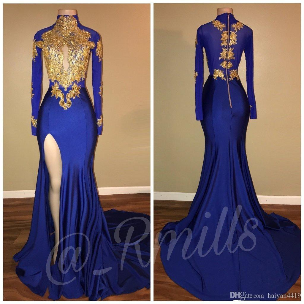 Royal Blue 2018 Gold Lace Appliques Collo alto Prom Dresses Mermaid Keyhole Maniche lunghe African Side Split Nero Girl Party Abiti da sera