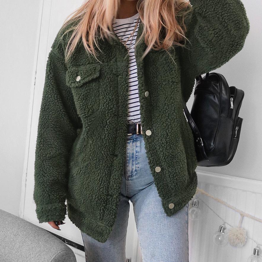 Warme Winter Wollmischungen Weibliche Jacken Frauen Wolle Einreiher Taschen Knöpfe Dicker Teddy Mantel Mantel Plus Größe M0134