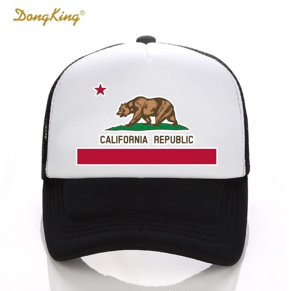 012e4a20b25dc Compre DongKing Moda Chapéu Da Camionista Califórnia Bandeira Snapback Boné  De Malha Retro California Love Vintage Califórnia República Urso Top  D18110601 ...