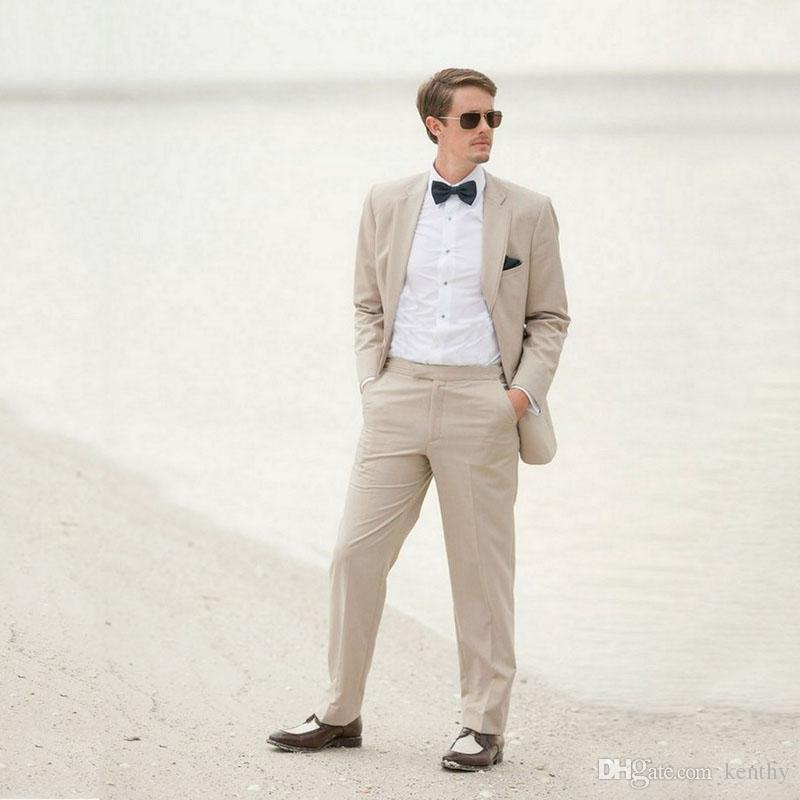 Tailor Made Khaki Linen Beach Wedding Suits Best Man Blazers Jacket