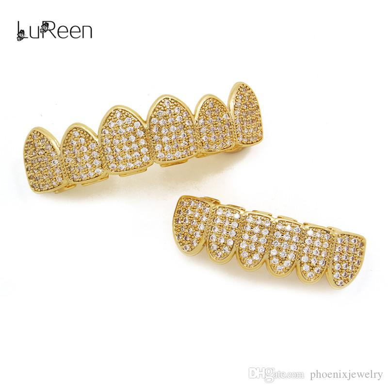 LuReen Gold Silver Iced Out Micro Pave CZ Grillz Set 6 Teeth Top and Bottom Grillz Set