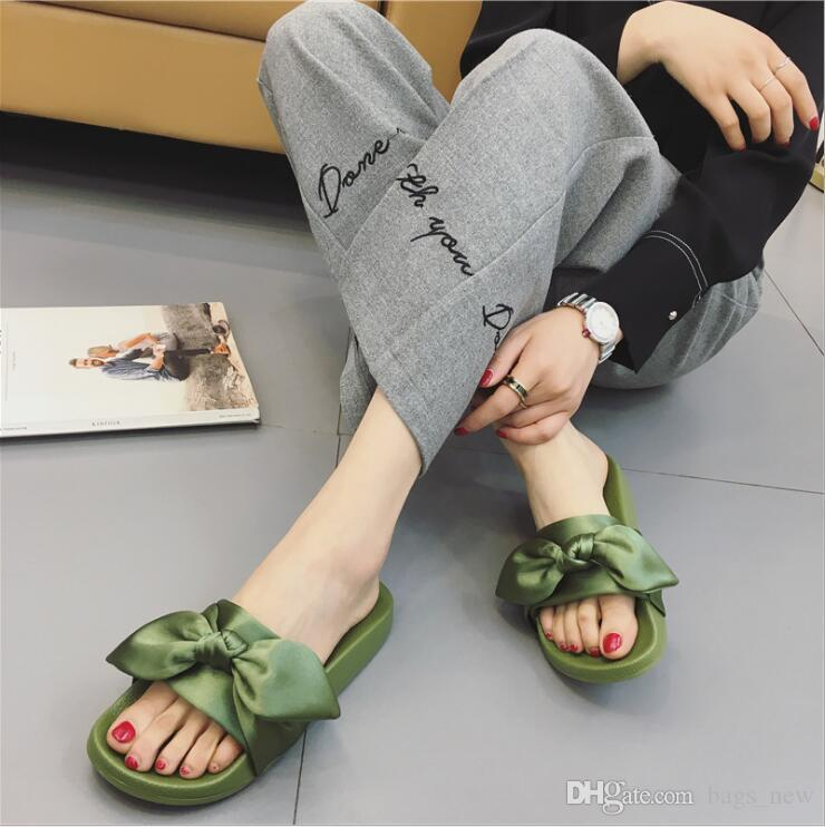 huge discount 9d708 c449b Women Slipper Fenty Rihanna Slippers Bow Bandana Slide Slippers Fenty Bow  Slides For Women Indoor Slides With Box and Dust Bags