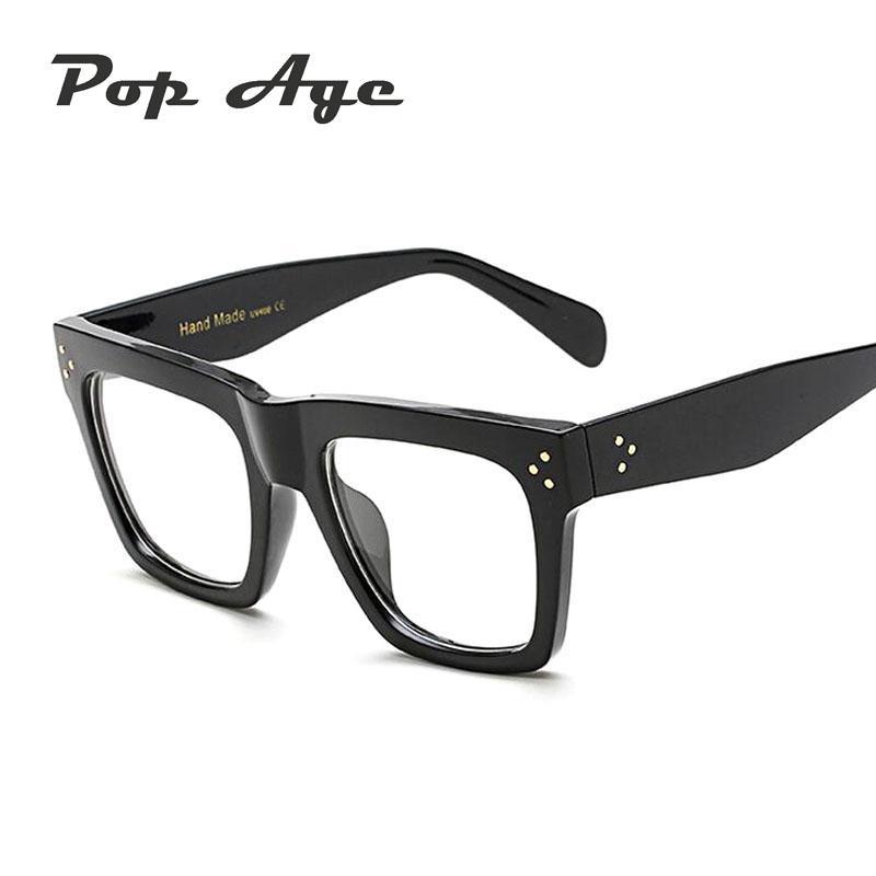 07ce619e4c8 Pop Age Fashion Rivet Shades Plain Glasses Men Women Brand Designer ...
