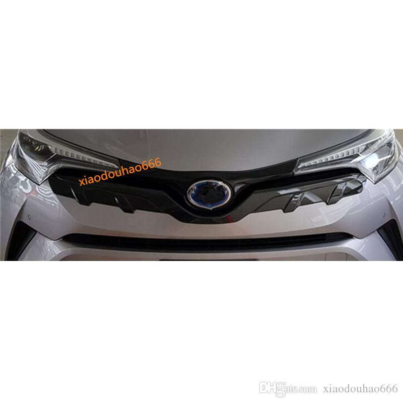 For TOYOTA C-HR CHR 2017 2018 Car styling sticker cover detector ABS Chrome/Carbon fiber trim Front bottom Grid Grill Grille hoods 1pcs