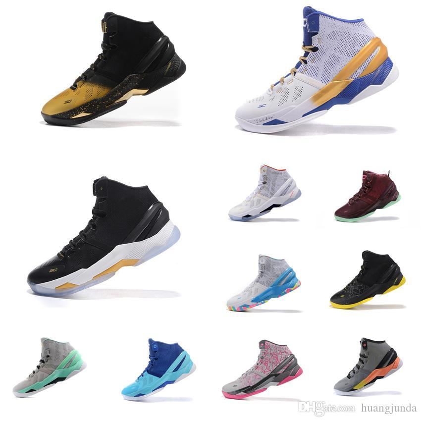 detailed look da69f e7467 2019 Cheap Mens UA Curry Two Basketball Shoes MVP Championship Black Gold  Christmas Easter Blue Birthday Stephen Currys 2 Sneakers Boots For Sale  From ...