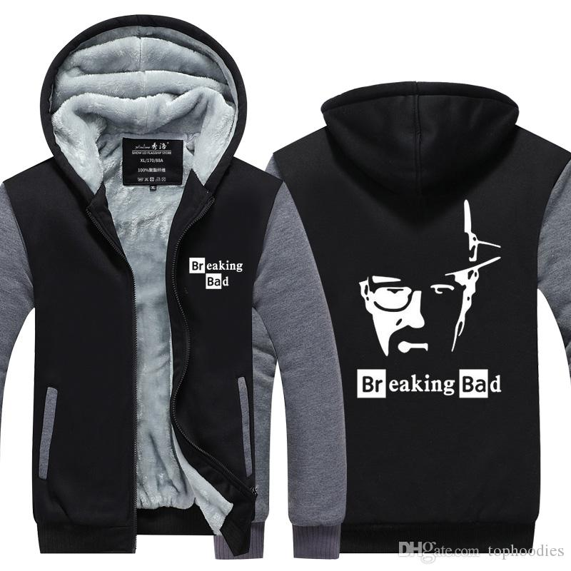 Breaking Bad Heisenberg figure Winter Hoodie Zipper Jacket Leisure Sweatshirts Thicken Cardigan Coat Long Sleeve Tracksuit Pullovers Tops
