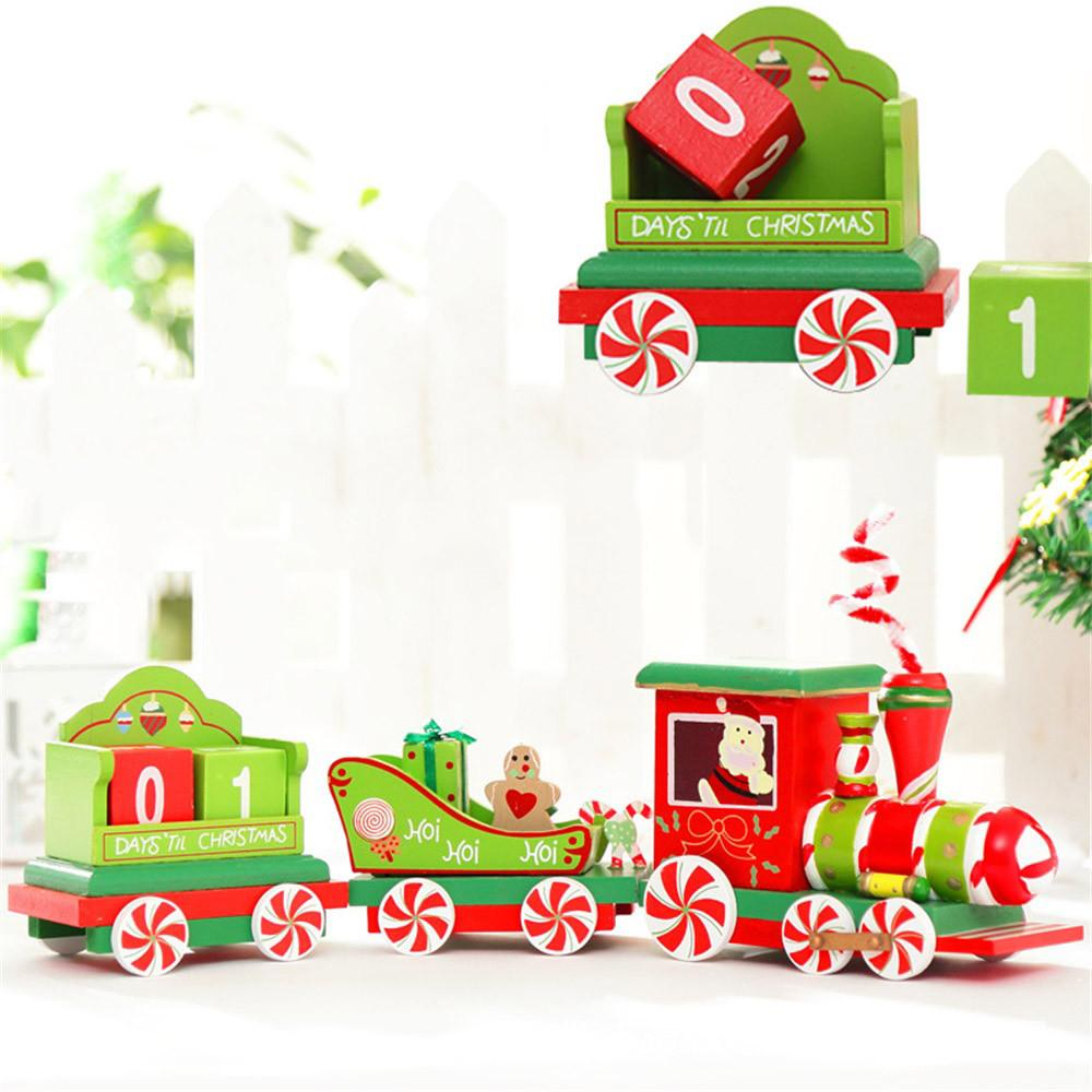 high quality wooden christmas train car decoration child christmas gift small train desktop ornaments for kids toy christmas holiday decor christmas holiday - Christmas Train Decoration