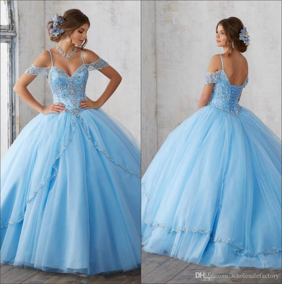 Light Sky Blue Ball Gown Quinceanera Dresses Cap Sleeves Spaghetti Beading Crystal Princess Prom Party Dresses For Sweet 16 Girls