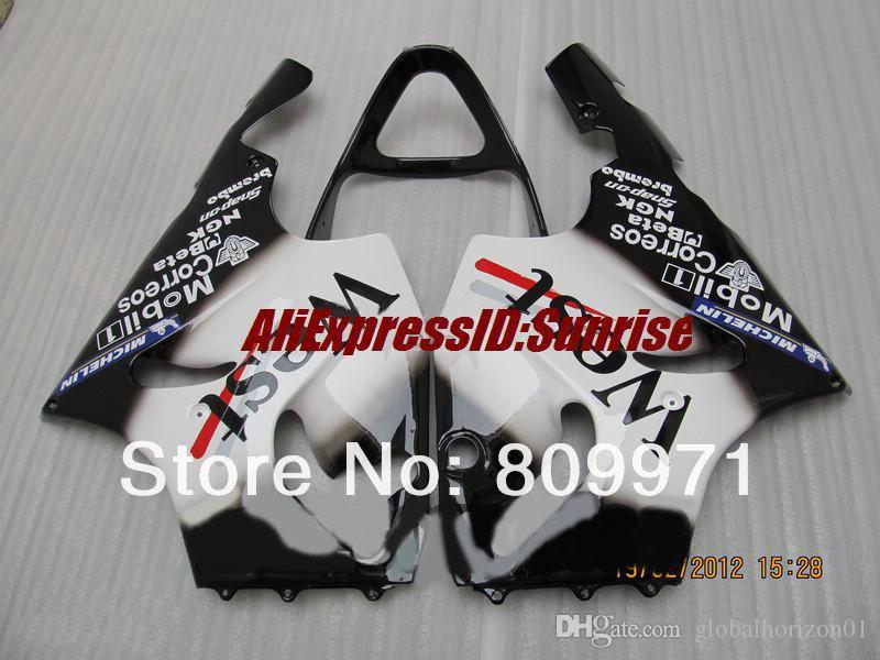 Carénage K245 Mobil WEST blanc noir complet pour KAWASAKI Ninja ZX7R 96-03 ZX-7R1996-2003 ZX 7R 96 97 98 99 00 01 02 03 1996 2003