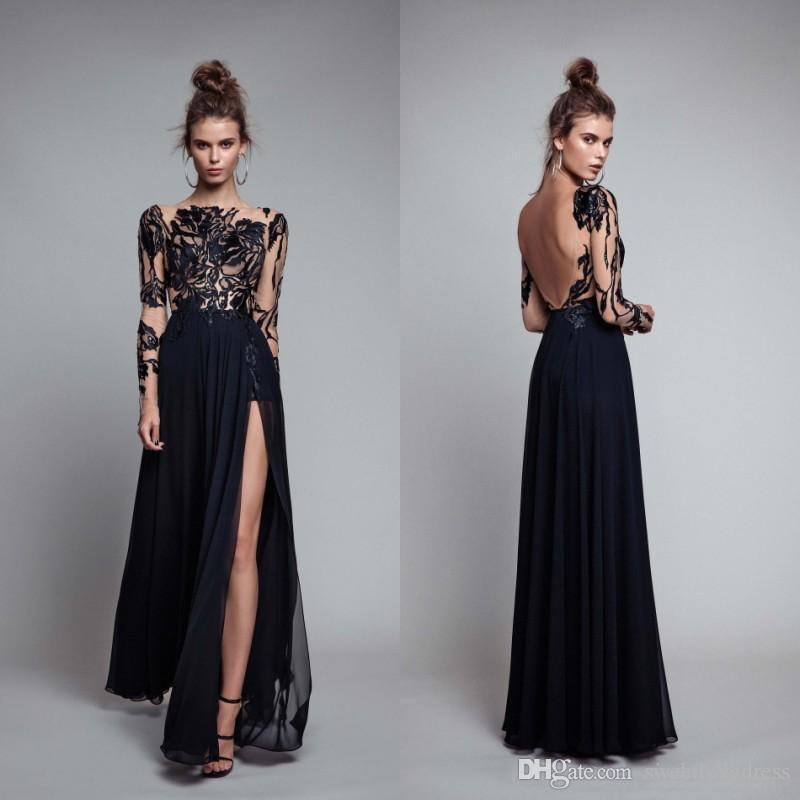2017 Sheer Lace Long Sleeves Long Sexy Black Evening Dresses Bateau