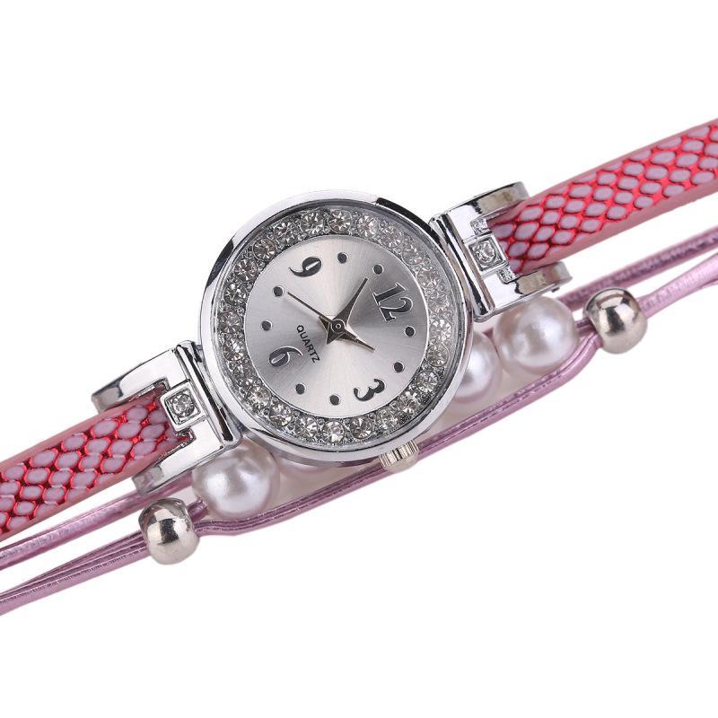 Fashion Women Bracelets Watches Luxury Reloj Mujer PU Leather Strap Pearls Brand Ladies Watch Dress Wristwatches Clock Relogio Feminino