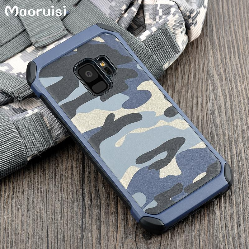 newest 6e122 0d30e Case for Samsung Galaxy S7 S8 S9 Plus Army Camo Camouflage Pattern PC TPU 2  in 1 Anti-knock Back Cover