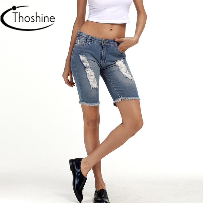 02608b58ea 2019 Thoshine Brand 2017 Summer Style Women Ripped Hole Denim Shorts Female Knee  Length Jeans Lady Retro Casual Pants Plus Size 5XL From Elizabethy, ...