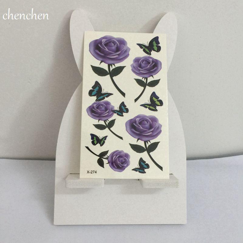 Temporary Tattoo Sticker For Body Art 3d Purple Rose Butterfly Water