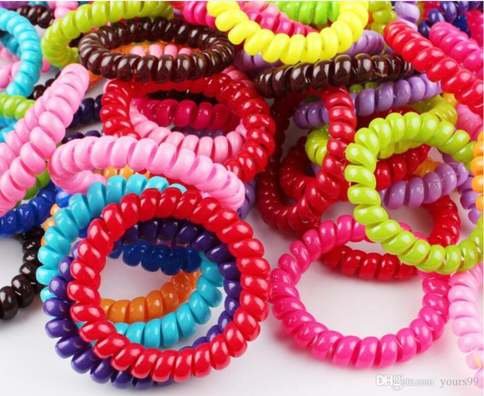 5,5 cm caramelo coloreada línea telefónica goma elástica lazos desgaste del anillo del pelo bandas elásticos del pelo / lazos del pelo / anillo del pelo / desgaste del cabello / accesorios para el cabello barato