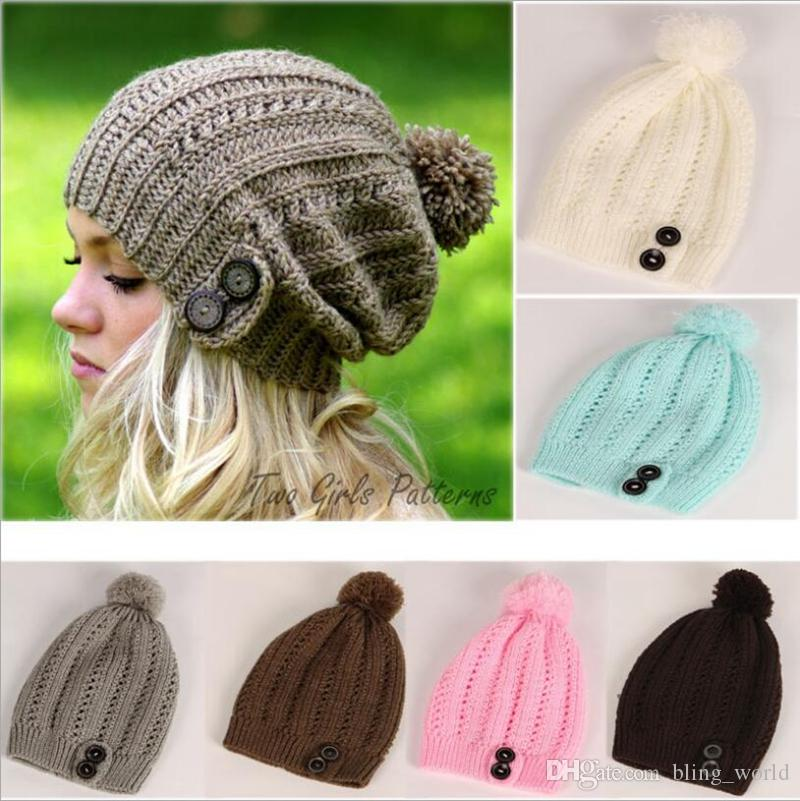 a5538439279 2019 Women Winter Warm Caps Lady Pompom Ball Beanies Cap Pullover Button Hats  Knitted Hat Fashion Wool Hats YL730 From Bling world