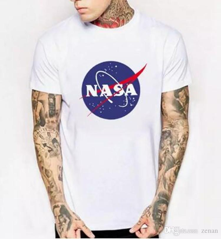 WISHCART NASA Logo Print T Shirt Mens New Summer Short Sleeve Cotton Men T  Shirt Brand Designer Casual Fitness Clothing Tops Tees Crazy T Shirt  Sayings Tee ... f804ee244