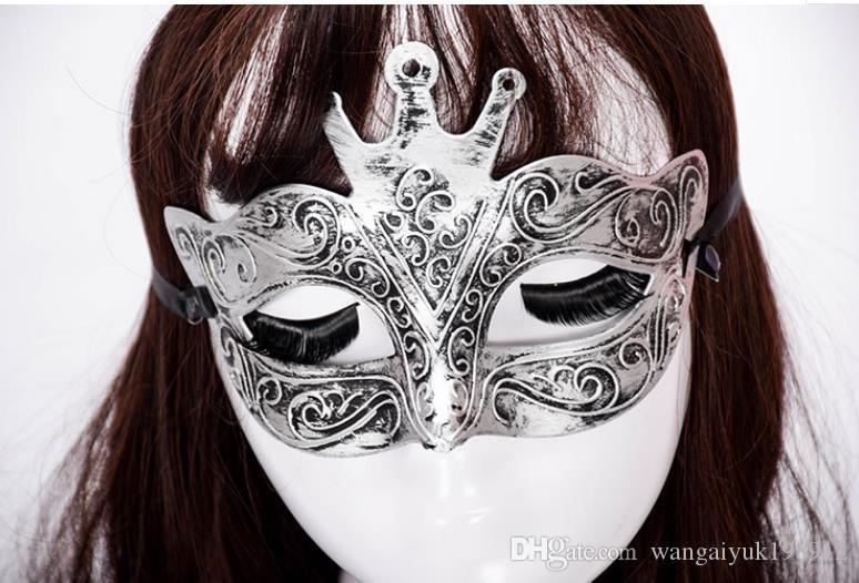 Direto da fábrica de Halloween antiga coroa antiga dos homens de Roma meia face esculpida máscara de bronze