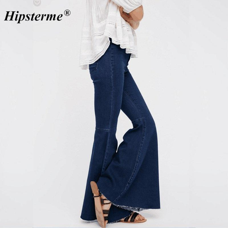 6256ac213 Hipsterme Elastic Stretch Women Super Flare Pants Washed Push Up Hip Ladies  Jeans 2018 Fashion Denim Pants Femme 2018 Jean Mujer Online with   59.51 Piece on ...