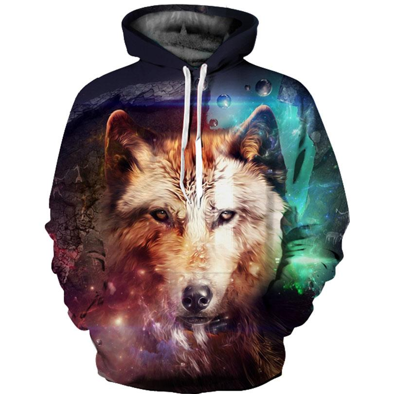 Fashion Cool Wolf Hoodies Men/Women Thin 3D Sweatshirts with Hat Animal Print Tiger Hoodie Sweatshirt Mens Tracksuit Jackets