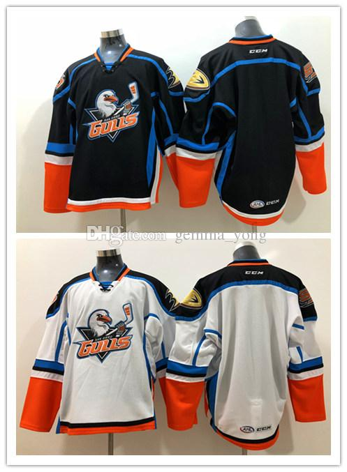 Fashion Ducks San Diego Gulls Jerseys Men Ice Hockey CCM AHL Blank Jersey Home Black Away White Breathable All Stitched Uniforms