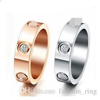 أعلى جودة الفضة الكلاسيكية تصميم العلامة التجارية / ارتفع لون الذهب مطلي عشاق الزفاف الفرقة عصابة لا يتلاشى عن النساء الرجال حجم 6-14