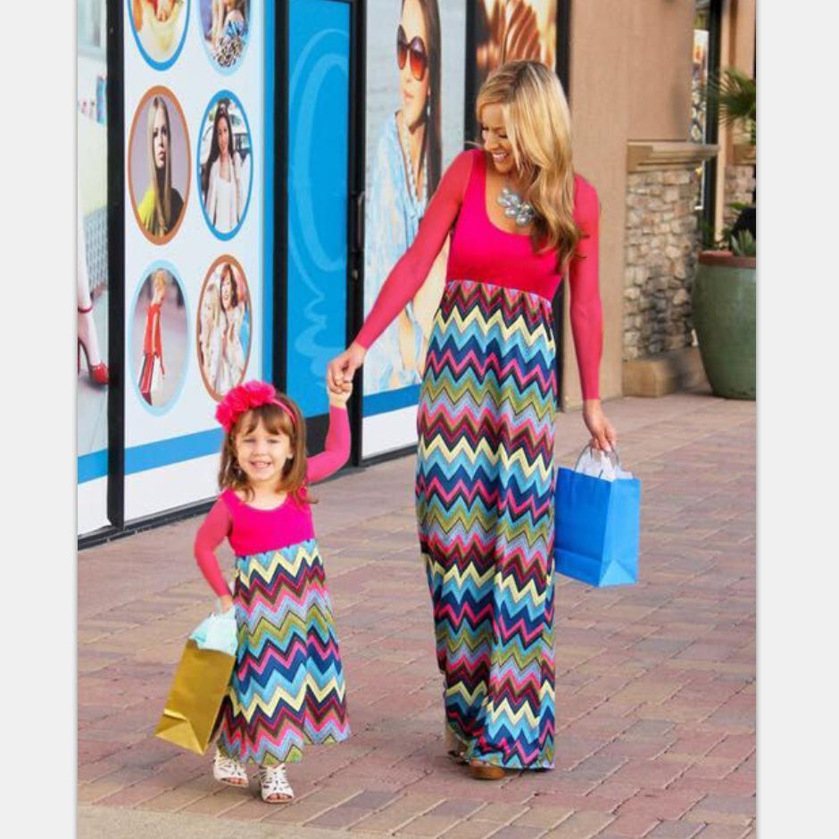 Mommy and Me família combinando mãe e filha mãe vestidos roupas Patchwork e menina miúdos vestido parentais roupas