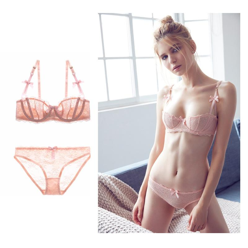 aa19b2aa71 2019 Lingerie Set Plus Size Bras A B C D Cup Sexy Ultra Thin Lace  Transparent Underwear Women Half Cup Underwire Embroidery Bow From  Clothesg090
