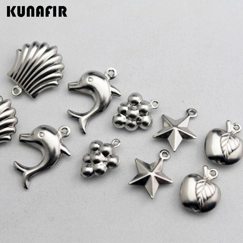 necklace charms Mini hollow pendants shell-dolphins-grapes-pentagram-apple shape stainless steel small tag can mix styles /bag ZSP410