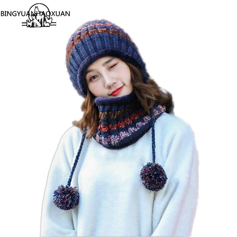 2a063898f0c97 BINGYUANHAOXUAN 2017 Winter Knitted Hat Women Scarf Caps Mask Gorras Bonnet  Warm Baggy Winter Hats For Girls Skullies Beanies Knit Cap Slouch Beanie  From ...