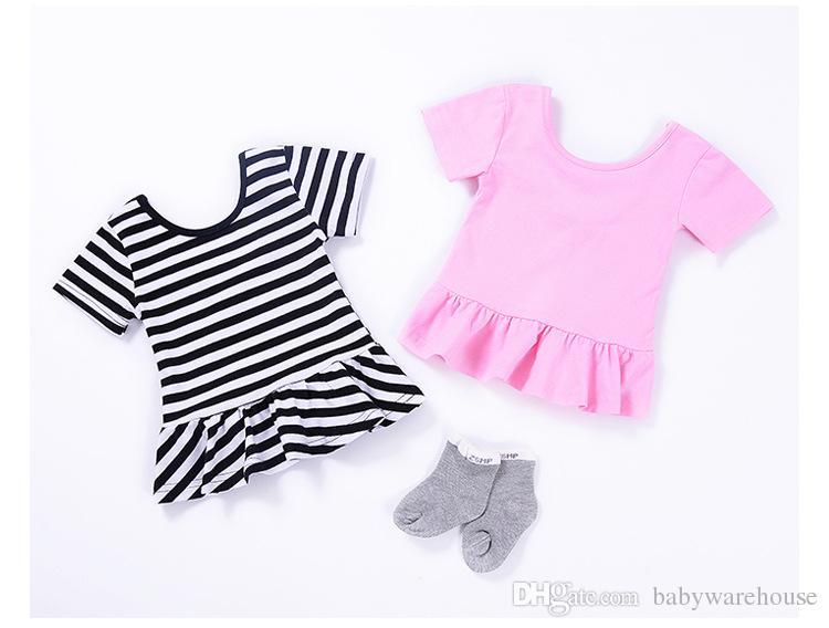 Ropa linda de los niños 2018 Verano Ropa de las muchachas del bebé Camisetas Tops Blusa Boutique Infant Toddler Girls Tees Ropa de los niños de algodón 2-7Y