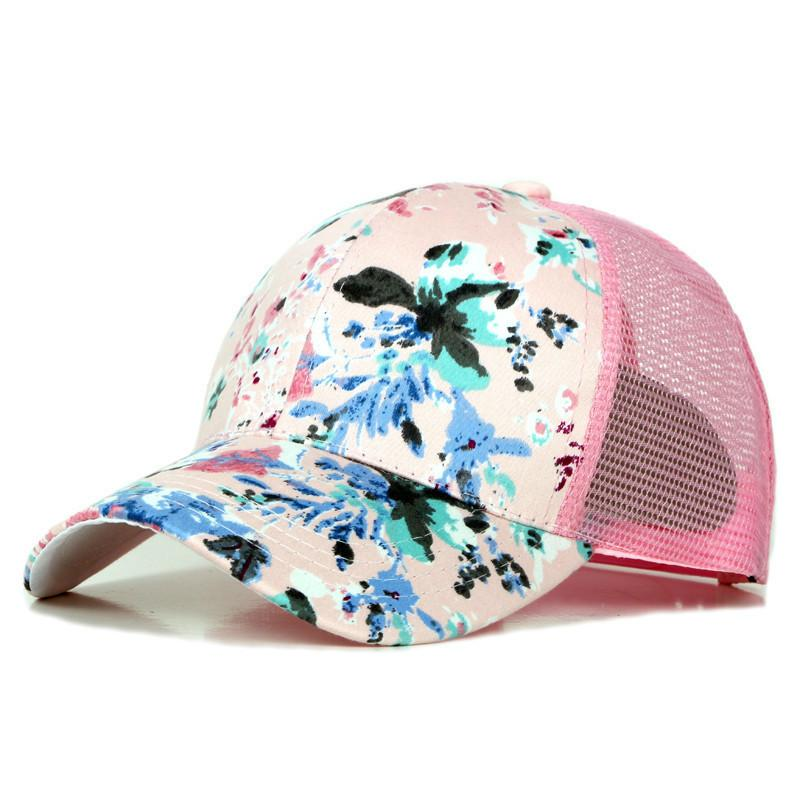 2882af18136 Brand Flowers Printing Baseball Cap Adjustable Fashion Womans Girls Summer  Snapback Hip Hop Caps Womens Baseball Hats Cheap Snapback Hats From  Shicool