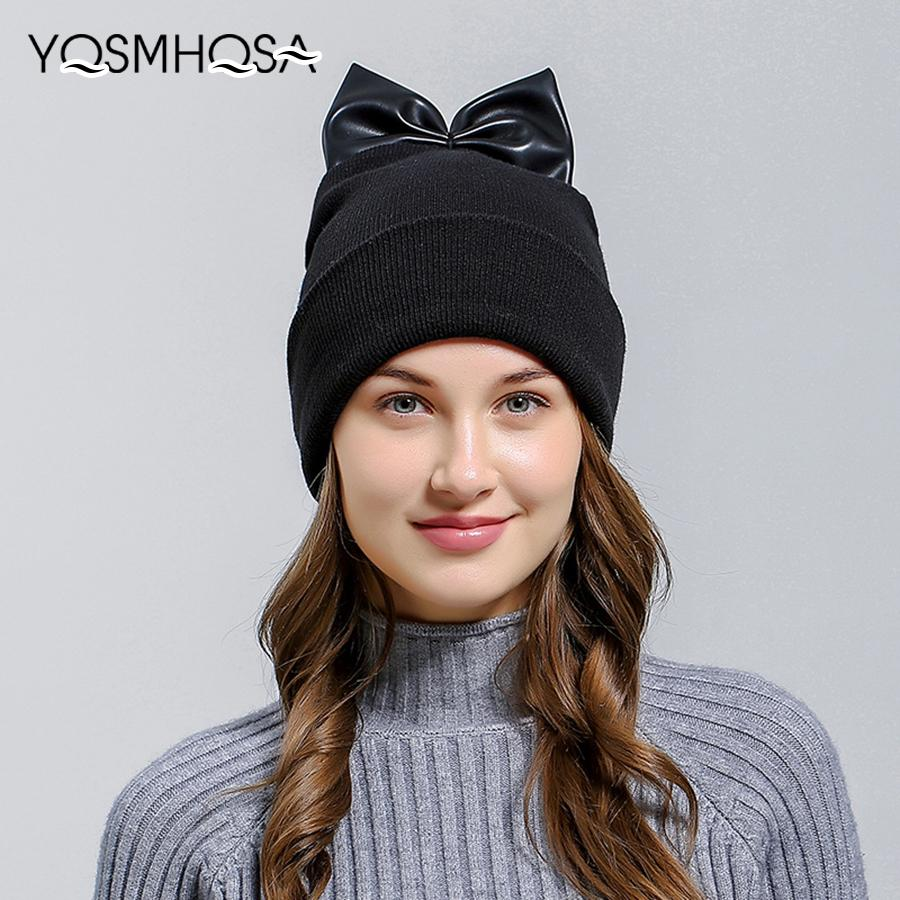 Cute Warm Beanie Cap With Ears Hats For Women Winter Cap Bonnet Girls  Autumn Knitted Hat Beanies For Ladies Female WH664 Crochet Baby Hats Ladies  Hats From ... 73d26224a