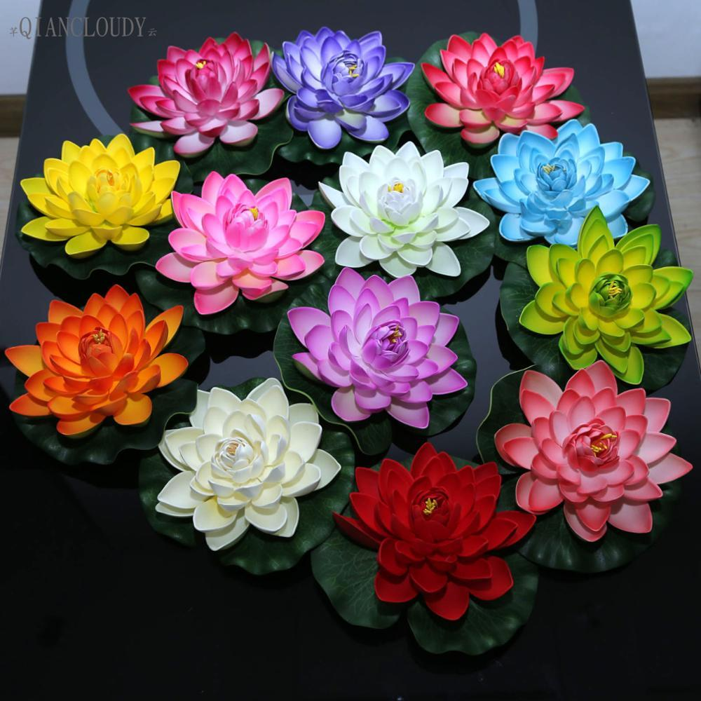 2018 Loating Flowers Wedding Artificial Optic Fibre Fake Lotus Leaf