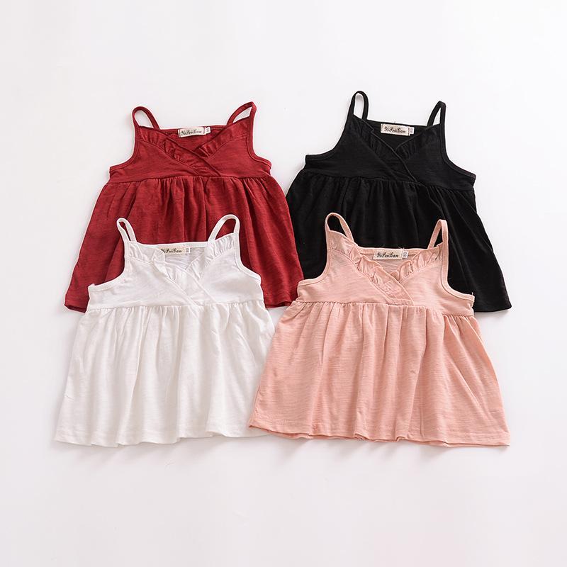 4984f0b6d209 2018 Summer New Arrival Baby Girls Top Children Suspender Ruffle ...