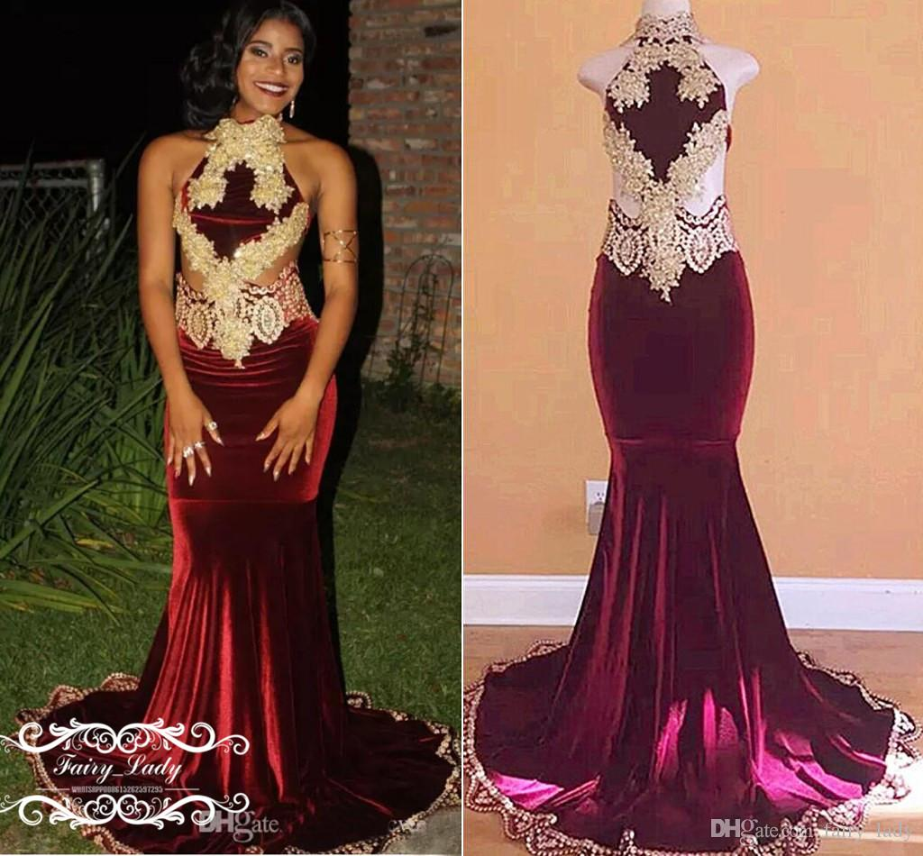 051c34cba33c 2018 Burgundy Velvet Mermaid Prom Dresses With Light Champagne Appliques  Beads Sexy Cutaway Sides Long Evening Dress Formal Wear For Women Neon Prom  Dresses ...