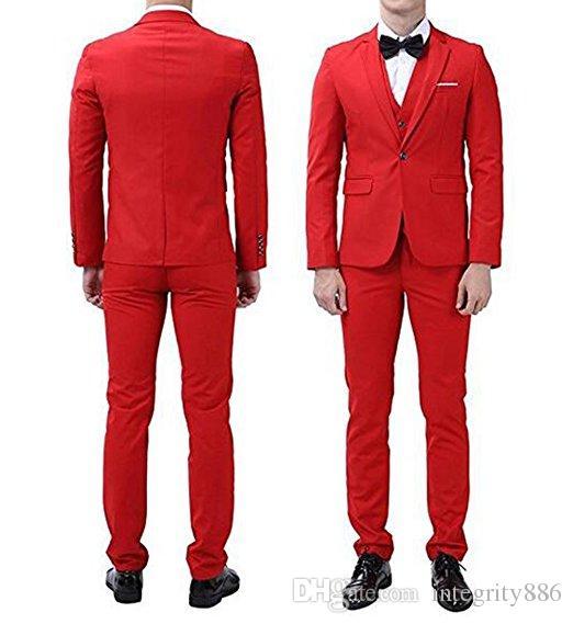 d0c48a8c62 Custom Made Red Men 3 pezzi vestito smoking da sposa smoking dello sposo  con tacca bavero un pulsante Center Vent uomini giacca (giacca + pantaloni  + ...