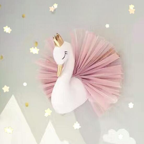 40cm Ins Baby Room Decorate Cute Crown Swan Wall Hanging Decoration